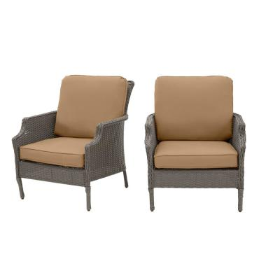 Grayson Ash Gray Wicker Outdoor Patio Lounge with CushionGuard Toffee Solid Cushions (2-Pack)