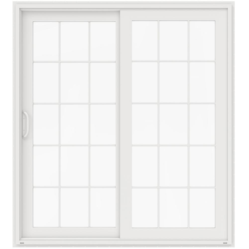 Jeld wen 72 in x 80 in v 4500 white vinyl left hand 15 for White sliding patio doors