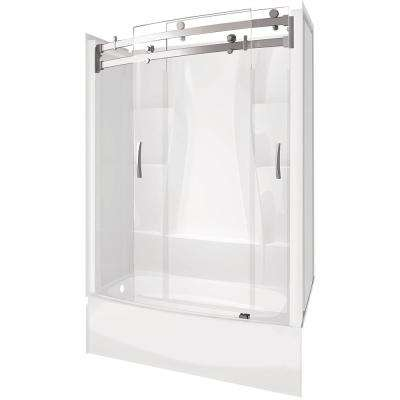 Classic 400 Curve 30 in. 60 in. x 80 in. Bath and Shower Kit with Left-Hand Drain in White