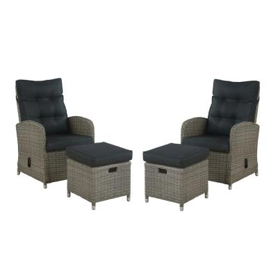 Monaco 4-Piece All-Weather Wicker Outdoor Recliner and Ottoman Set with Dark Gray Cushions