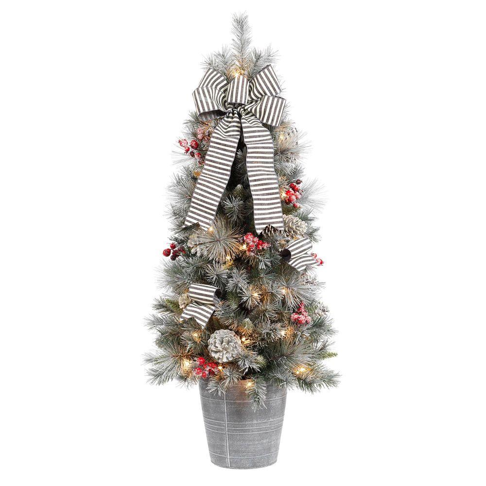 home accents holiday 4 ft snowy pinecone and berry artificial christmas porch tree with 50 ul clear lights 2314620hd t the home depot - 4 Christmas Tree