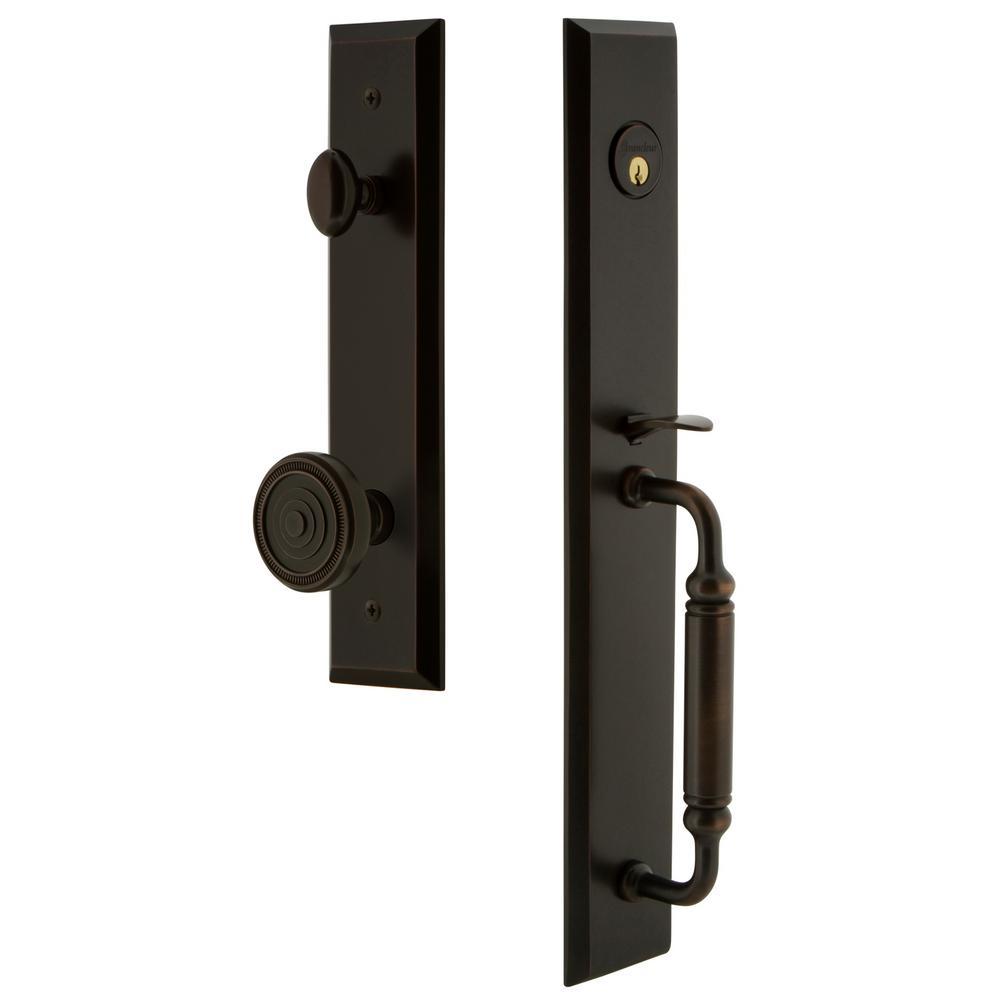 Fifth Avenue Timeless Bronze 1-Piece Dummy Door Handleset with C-Grip and Soleil Knob
