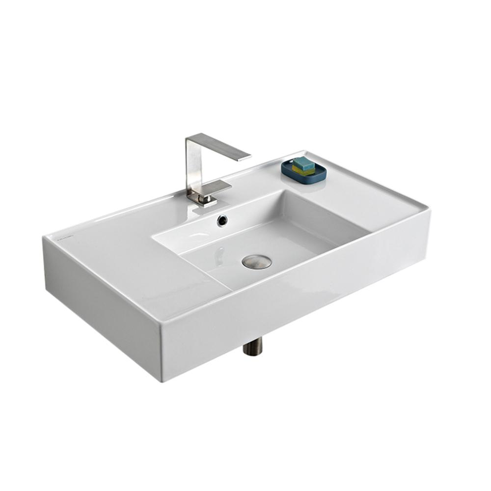 Nameeks Teorema Wall Mounted Bathroom Sink In White Scarabeo 5123