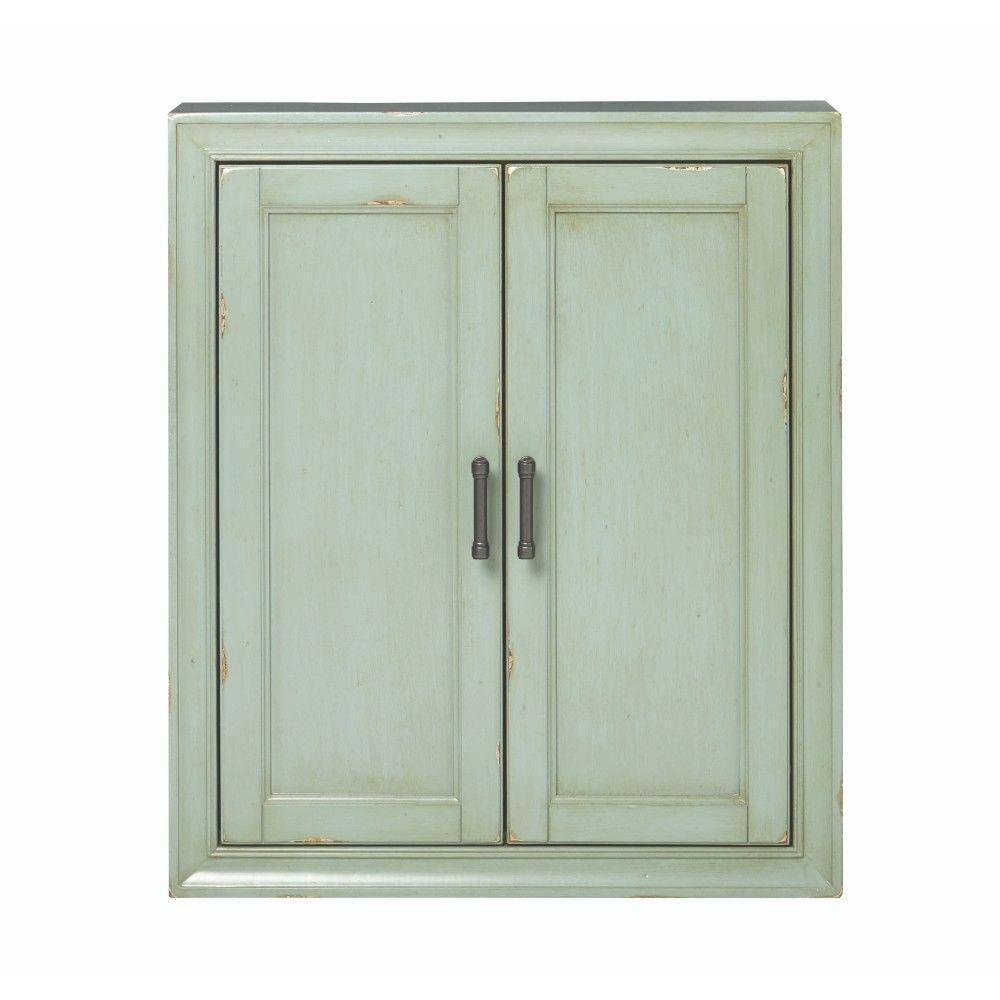 Hazelton 25 in. W x 28 in. H x 8 in. D Bathroom Storage Wall Cabinet in Antique Green