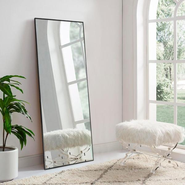 Large Rectangle Black Hooks Modern Mirror (59 in. H x 20 in. W)