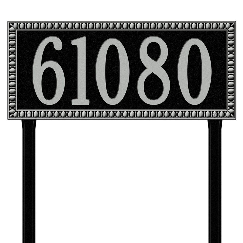 Egg and Dart Rectangular Black/Silver Estate Lawn One Line Address Plaque