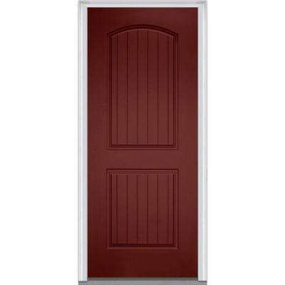 36 in. x 80 in. Left-Hand Inswing 2-Panel Archtop Planked Classic Painted Fiberglass Smooth Prehung Front Door