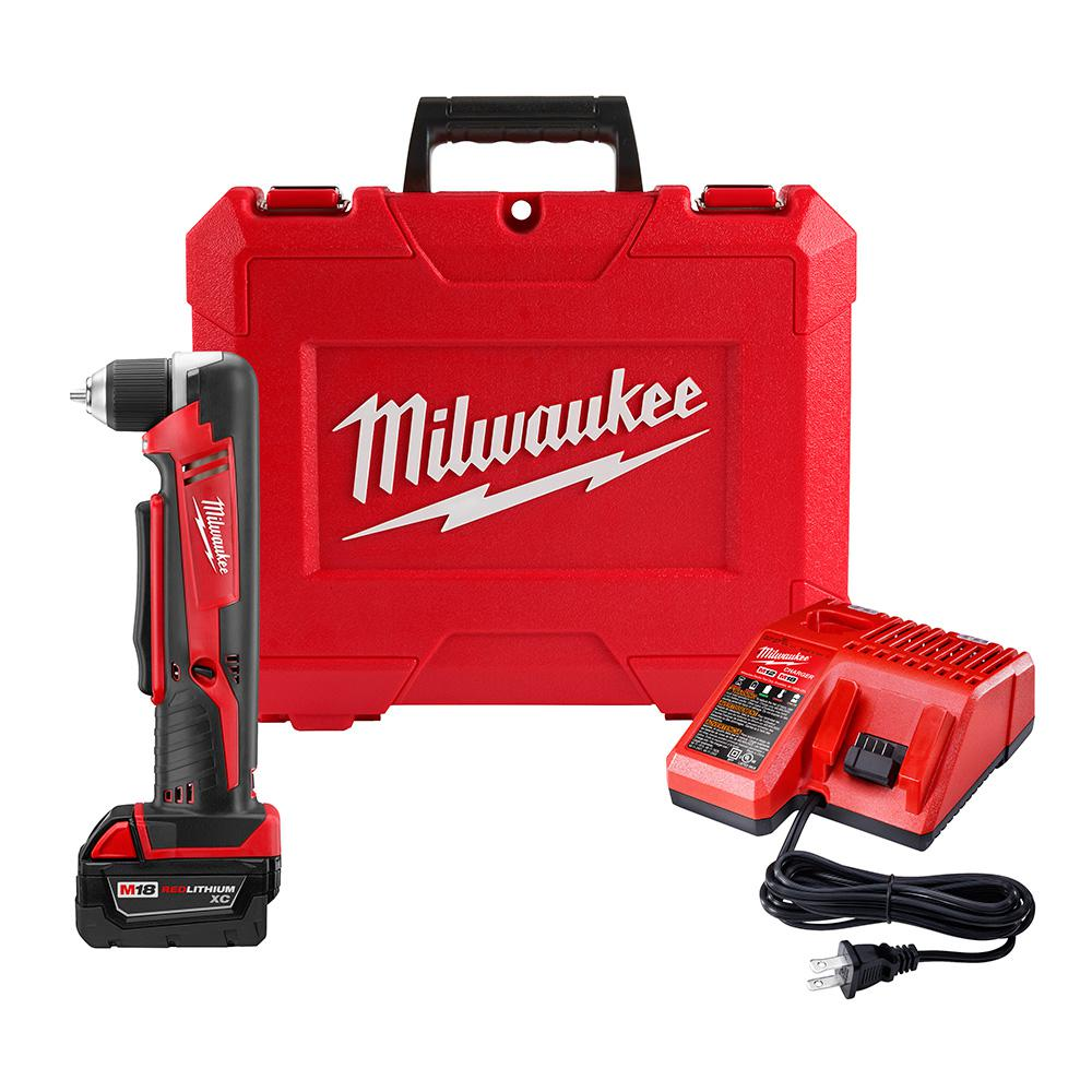 Milwaukee M18 18-Volt Lithium-Ion Cordless 3/8 in. Right Angle Drill Kit W/(1) 3.0Ah Batteries, Charger, Hard Case