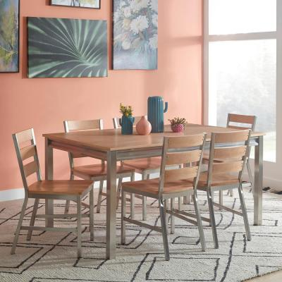Sheffield Natural Whitewashed 7-Piece Dining Set