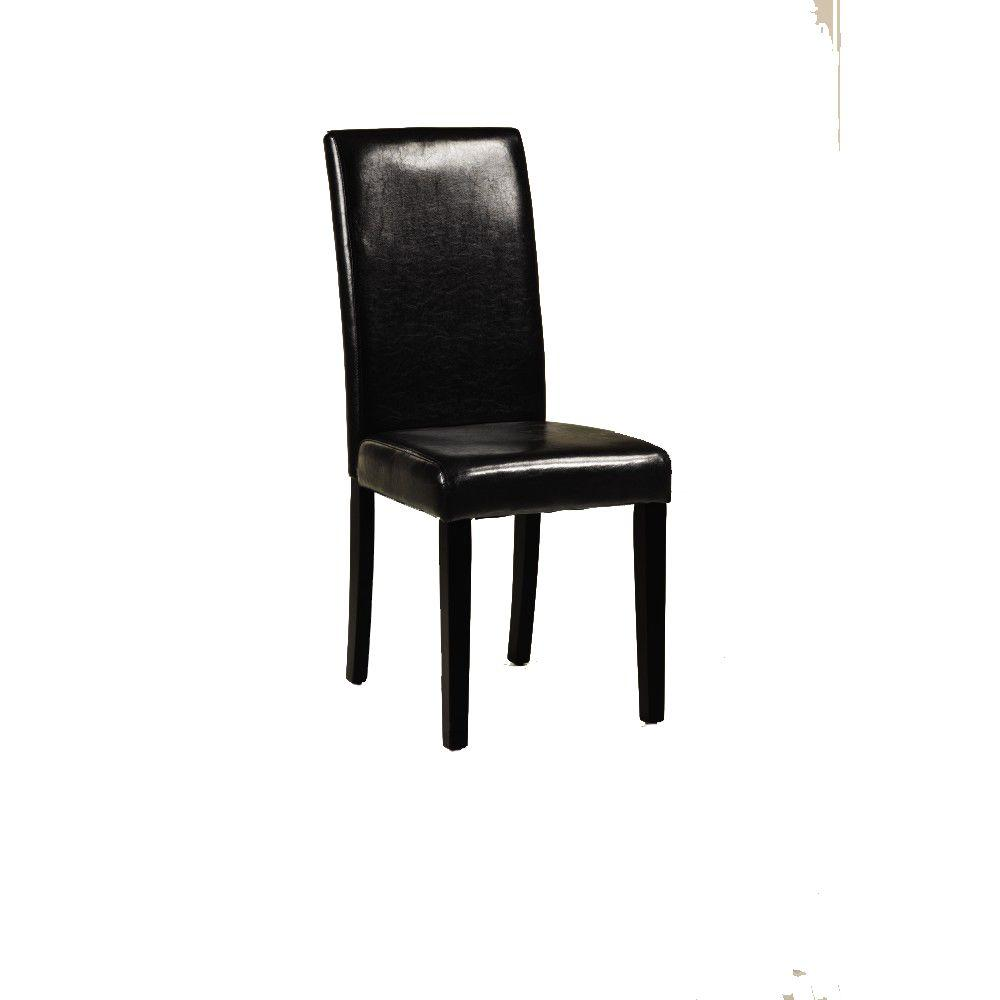 Home Decorators Collection Parsons Black Recycled Leather Side Chair