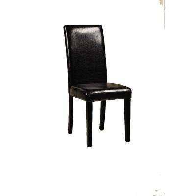 Parsons Black Recycled Leather Side Chair