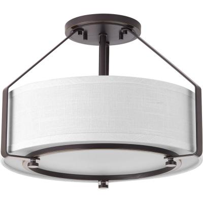 Ratio Collection 3-Light Antique Bronze Pendant with Fabric Shade Glass