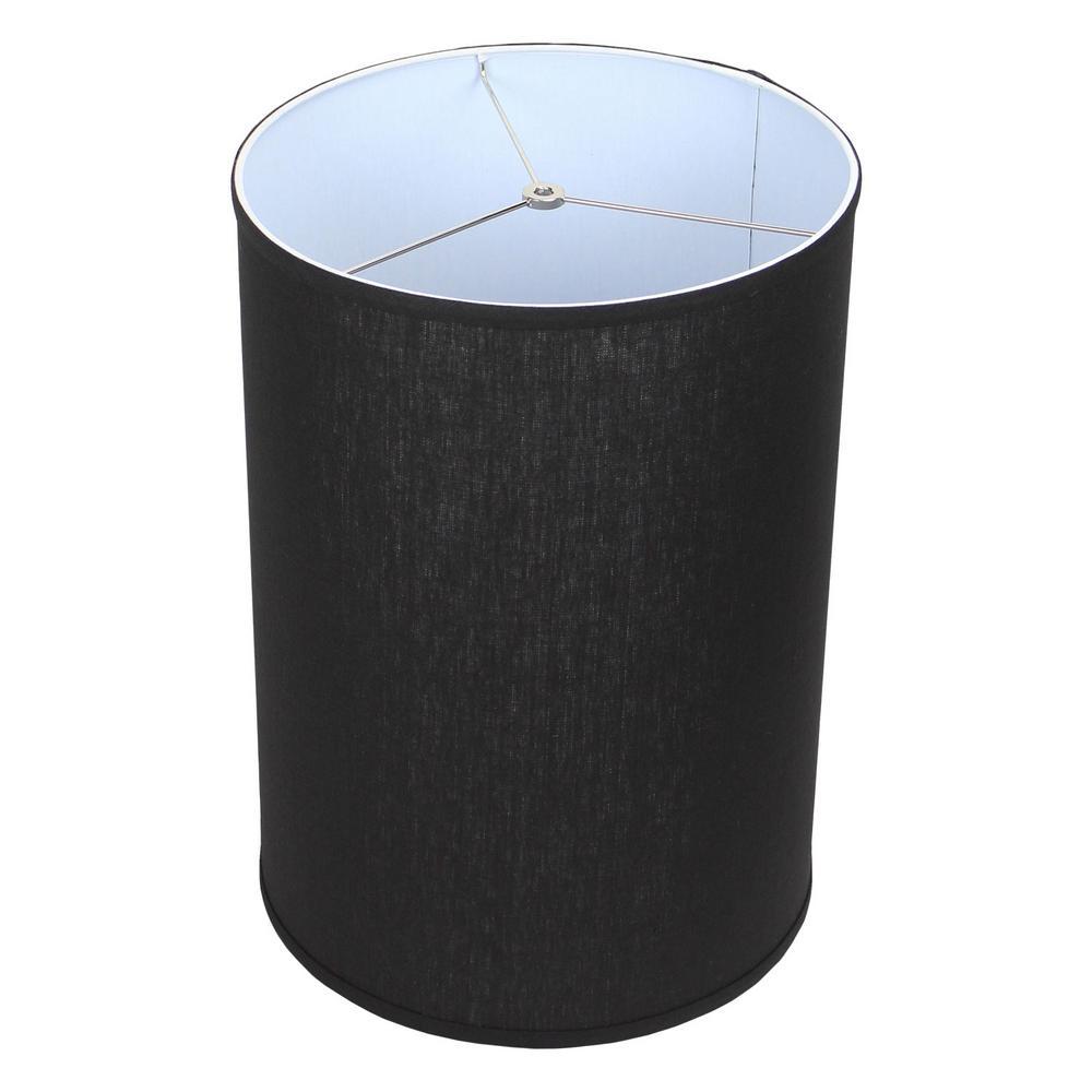 14 in. Top Diameter x 14 in. Bottom Diameter x 20 in. Height Designer Linen Black Drum Lamp Shade