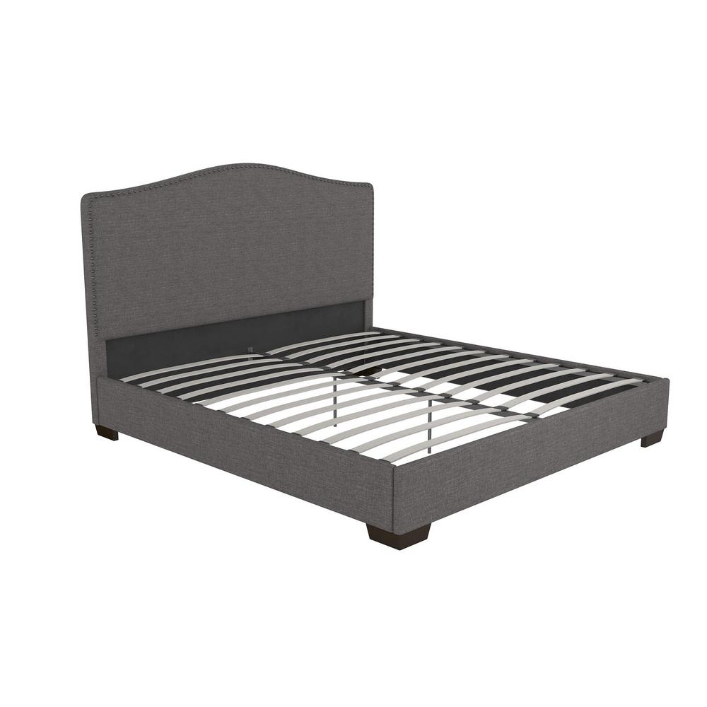 DHP Gavin Upholstered King Size Bed Frame in Gray Linen-4137449 ...
