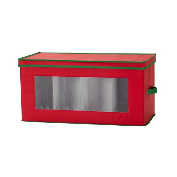 Red Canvas Holiday Collectibles Storage Box