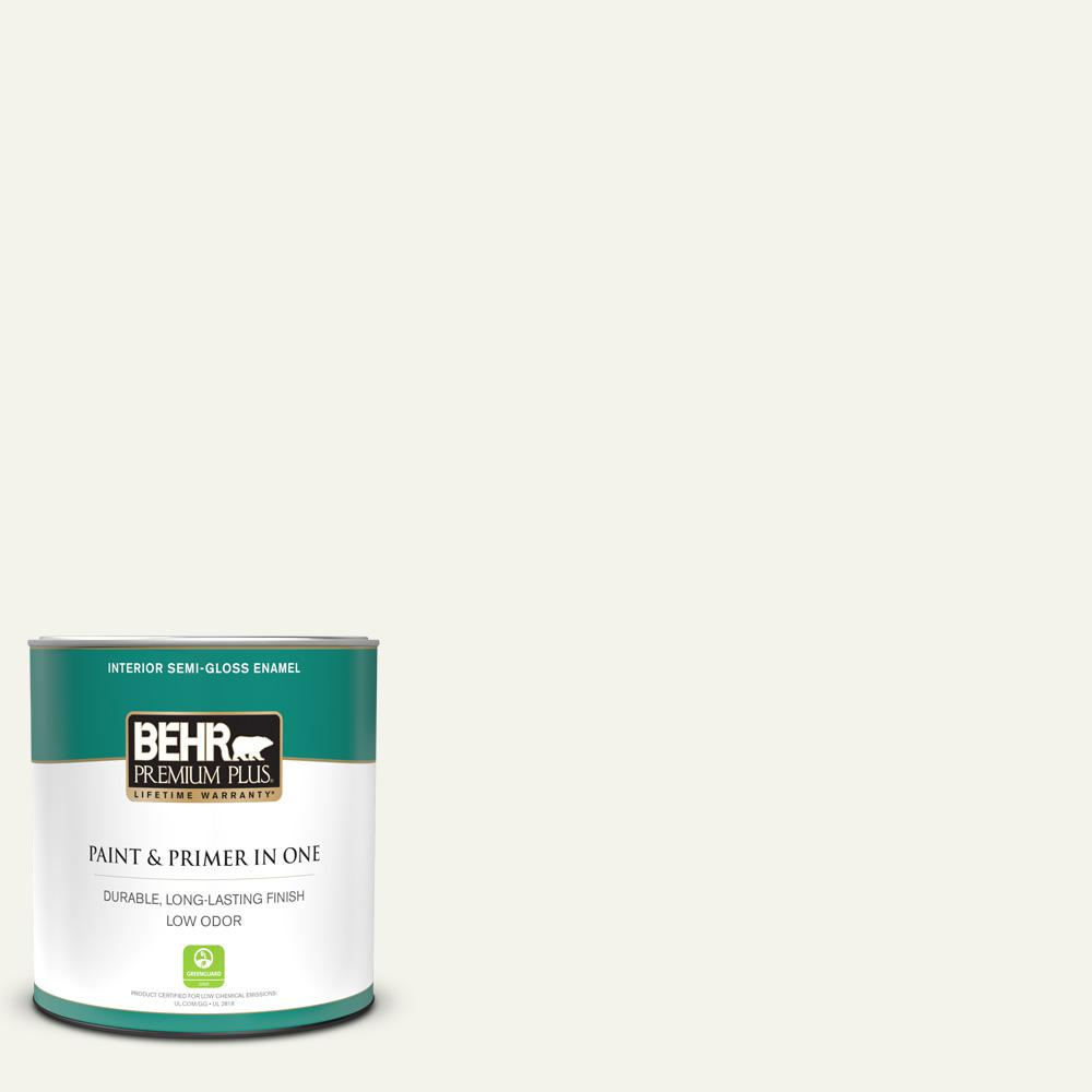 Behr Premium Plus 1 Qt W F 700 Moon Rise Semi Gloss Enamel Low Odor Interior Paint And Primer In One 305004 The Home Depot
