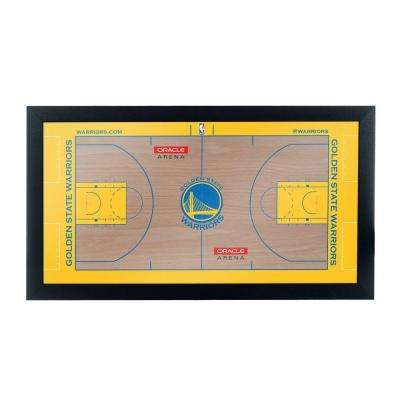 Golden State Warriors Official NBA Court 15 in. x 26 in. Black Framed Plaque