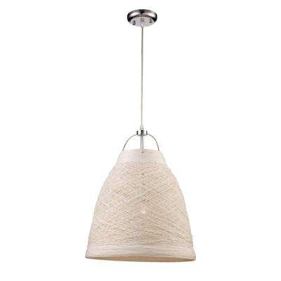 Basketweave 1-Light 23 in. White Indoor Pendant
