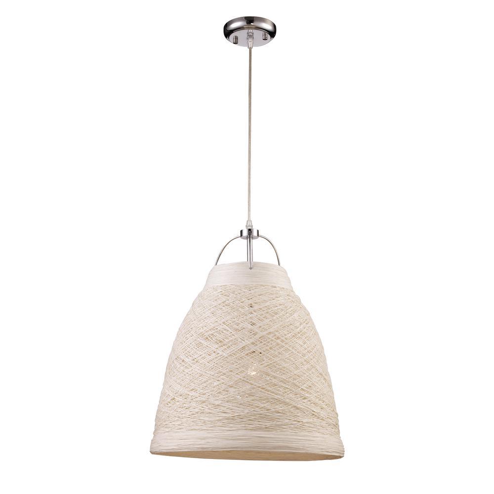 Basketweave 1-Light 23 in. White Indoor Pendant