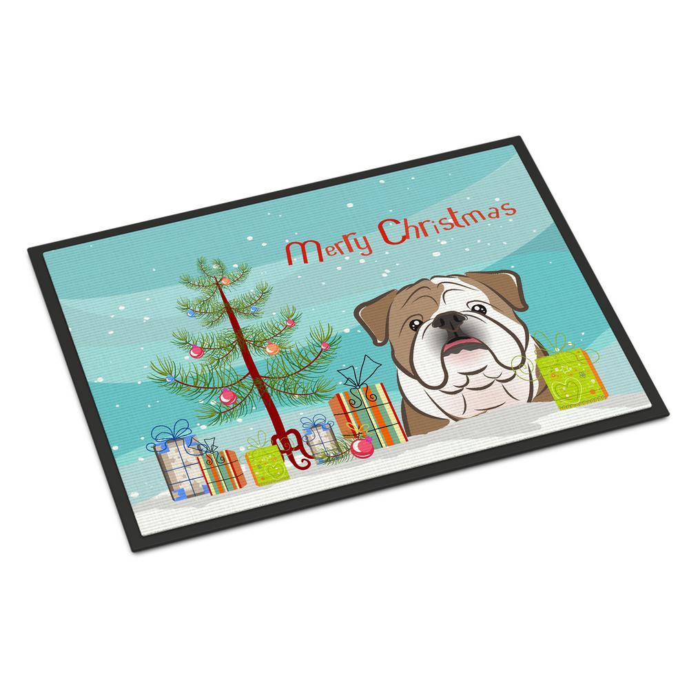 24 in. x 36 in. Indoor/Outdoor Christmas Tree and English Bulldog Door Mat