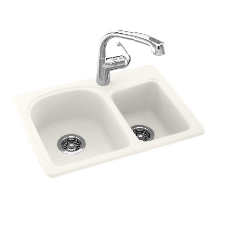 Swan Dual Mount Composite 25 in. 1-Hole Double Bowl Kitchen Sink in Bisque