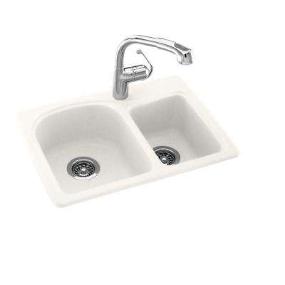 Drop-In/Undermount Solid Surface 25 in. 1-Hole 60/40 Double Bowl Kitchen Sink in Bisque