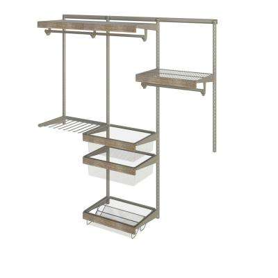 Closet Culture 16 in. x 72 in. W x 78 in. H Wire Closet System with 3 Shelves and Driftwood Fascia