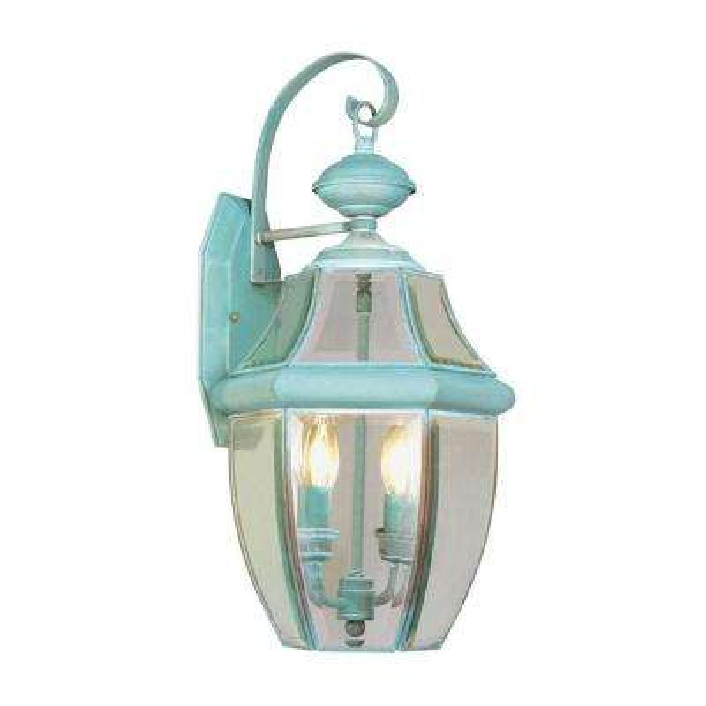 Wall-Mount 2-Light Verdigris Outdoor Incandescent Lantern