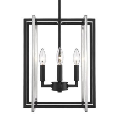 Tribeca 4-Light Black with Pewter Accents Chandelier