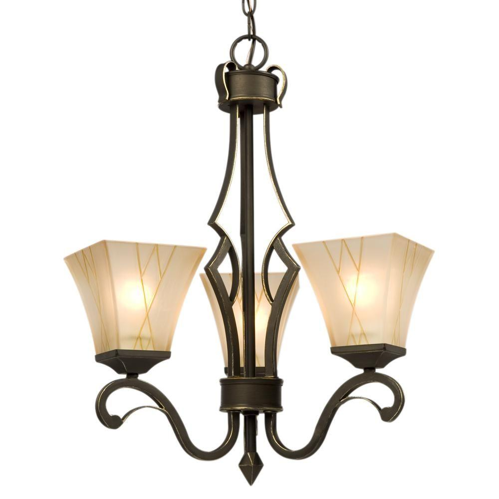 Negron 3-Light Oil-Rubbed Bronze with Gold Incandescent Chandelier