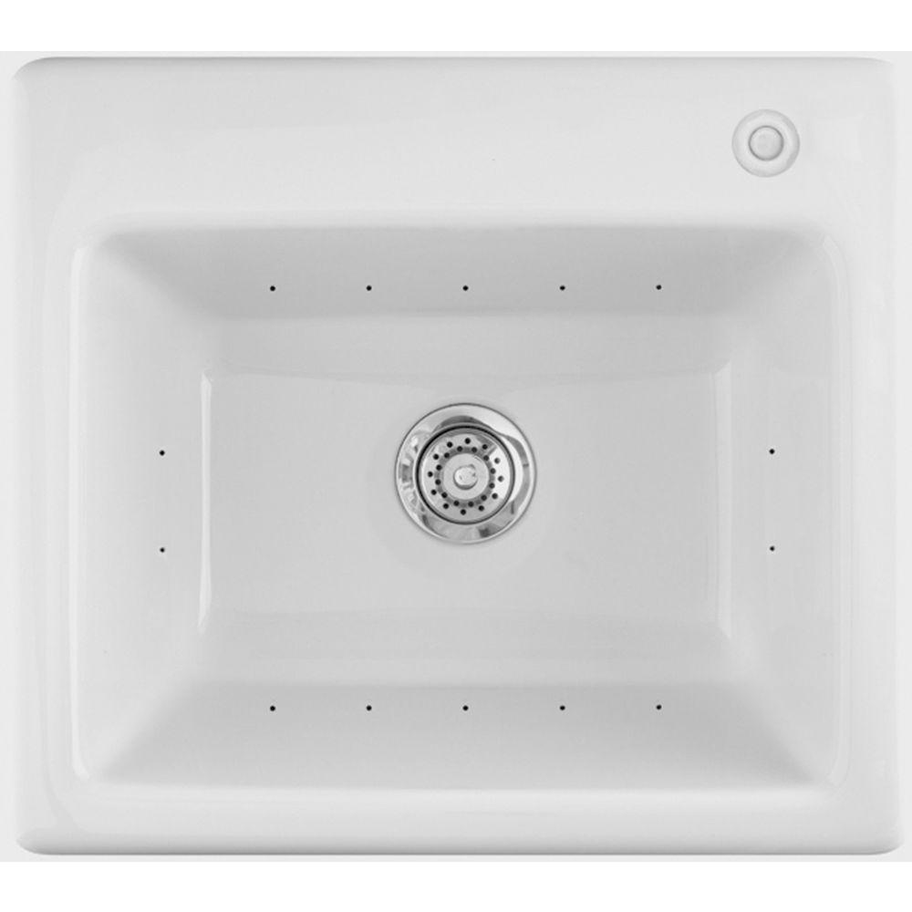 Aquatic Delicair II 25 in. x 22 in. Acrylic Drop-In Laundry Sink in White