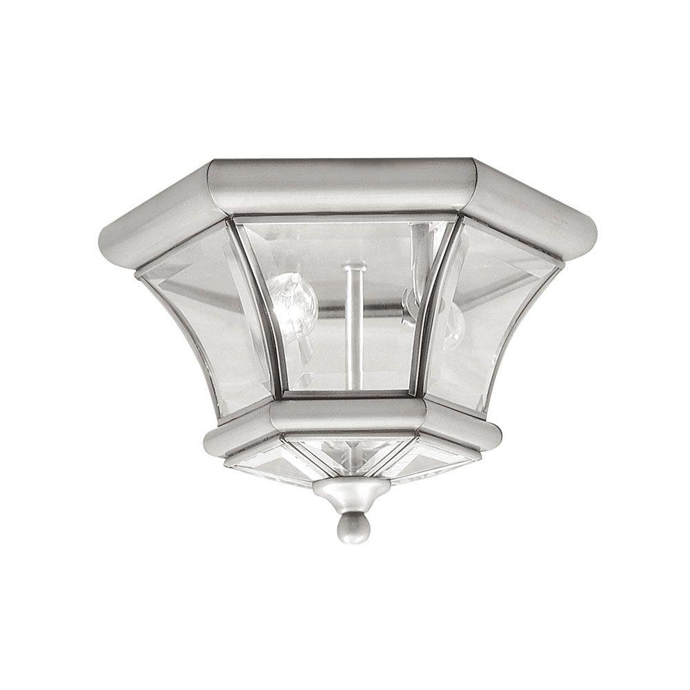 2-Light Brushed Nickel Flushmount with Clear Beveled Glass Shade