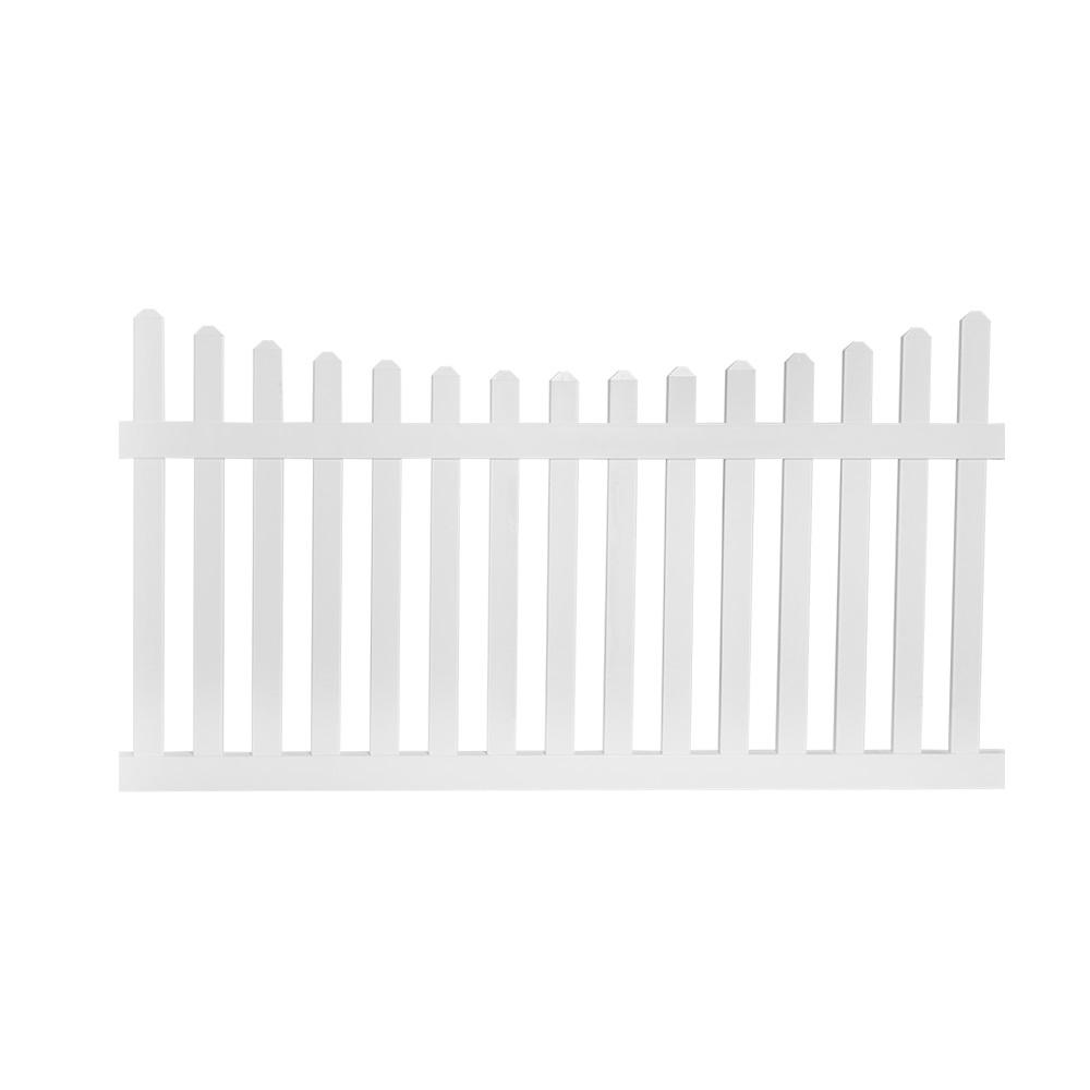 Ellington 5 ft. H x 8 ft. W White Vinyl Picket