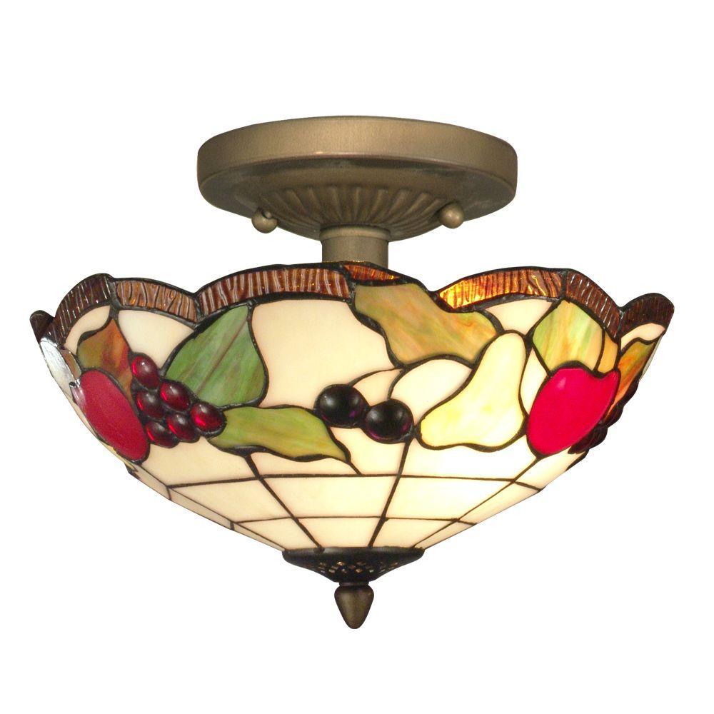 Fruit 2-Light Antique Brass Ceiling Semi-Flush Mount Light