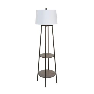 Tristan 63 in. Black Wood Floor Lamp with Shelves