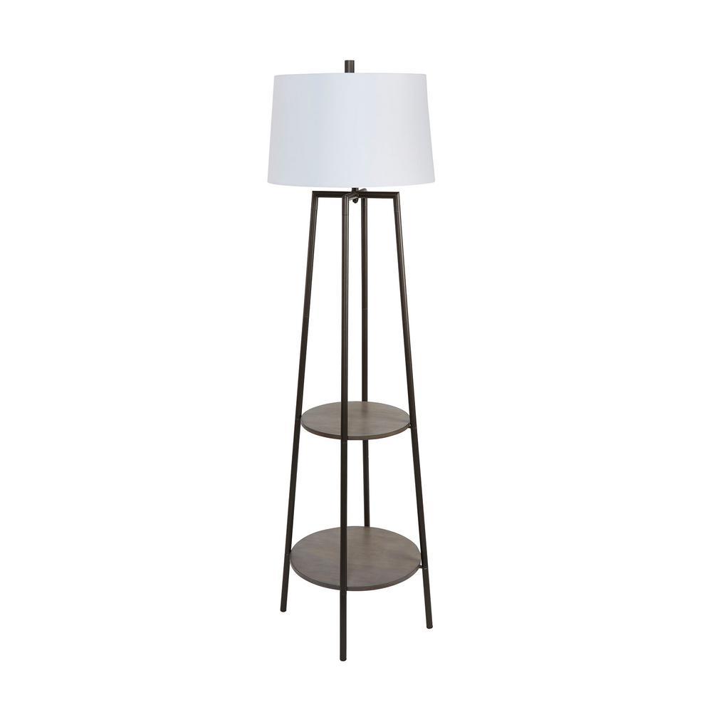 Tristan 63 in. Black Wood Floor Lamp with Shelves
