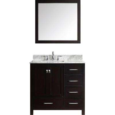 Caroline Avenue 36 in. W Bath Vanity in Espresso with Marble Vanity Top in White with Square Basin and Mirror