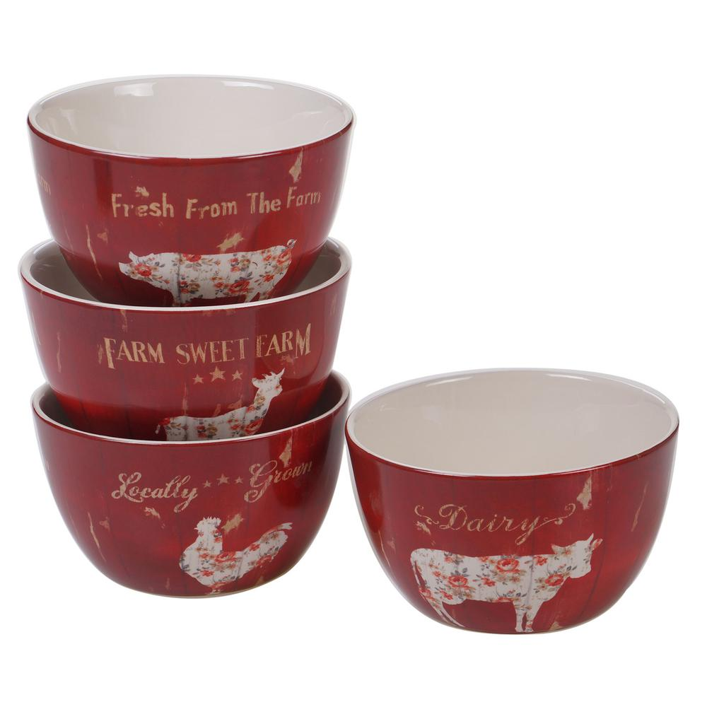 Farmhouse 4-Piece Country/Cottage Multi-Colored Ceramic 22 oz. Ice Cream Bowl Set (Service for 4)