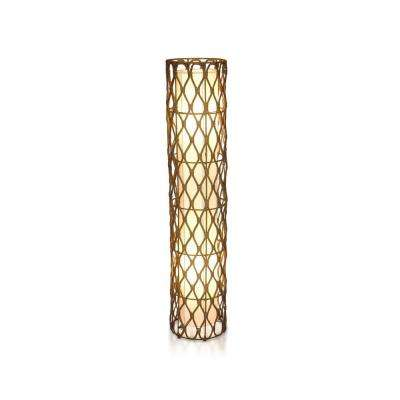 Bethany 48 in. Antique Golden Brown Round Floor Lamp with Natural Rattan Weave