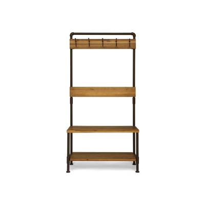 Tallulah Industrial Teak Brown Acacia Wood and Rustic Metal Bench with Shelf and Coat Hooks