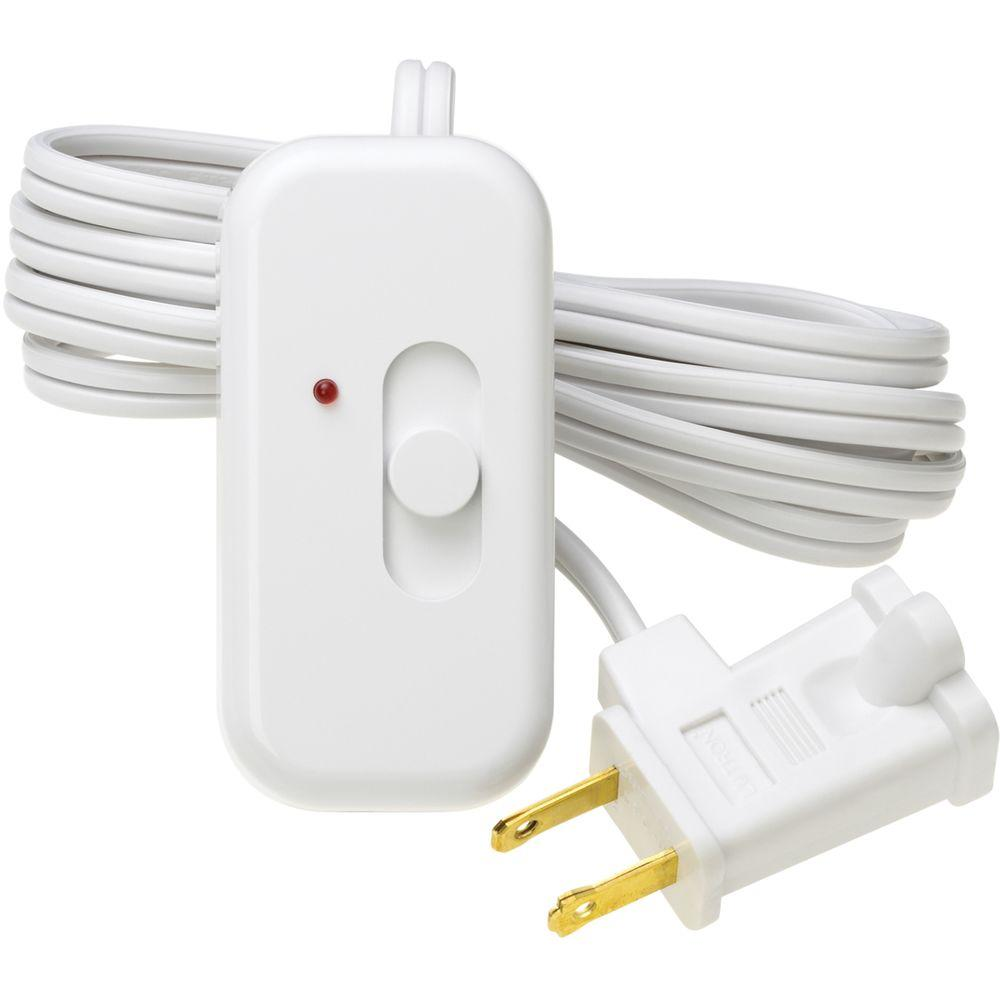 Lutron Credenza Plug-In Lamp Dimmer for Incandescent and Halogen Bulbs, With Night Light, White
