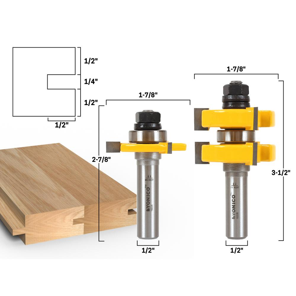Yonico Tongue And Groove Up To 1 1 4 In Stock 1 2 In Shank Carbide Tipped Router Bit Set 2 Piece