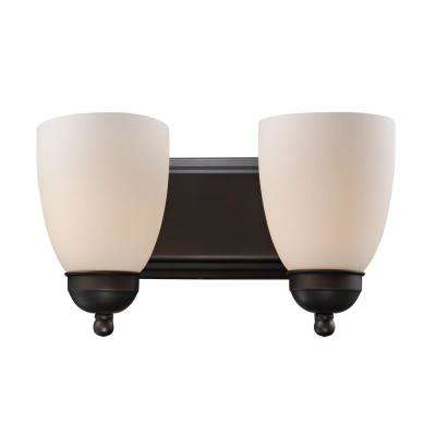 Clayton 2-Light Rubbed Oil Bronze Bath Light