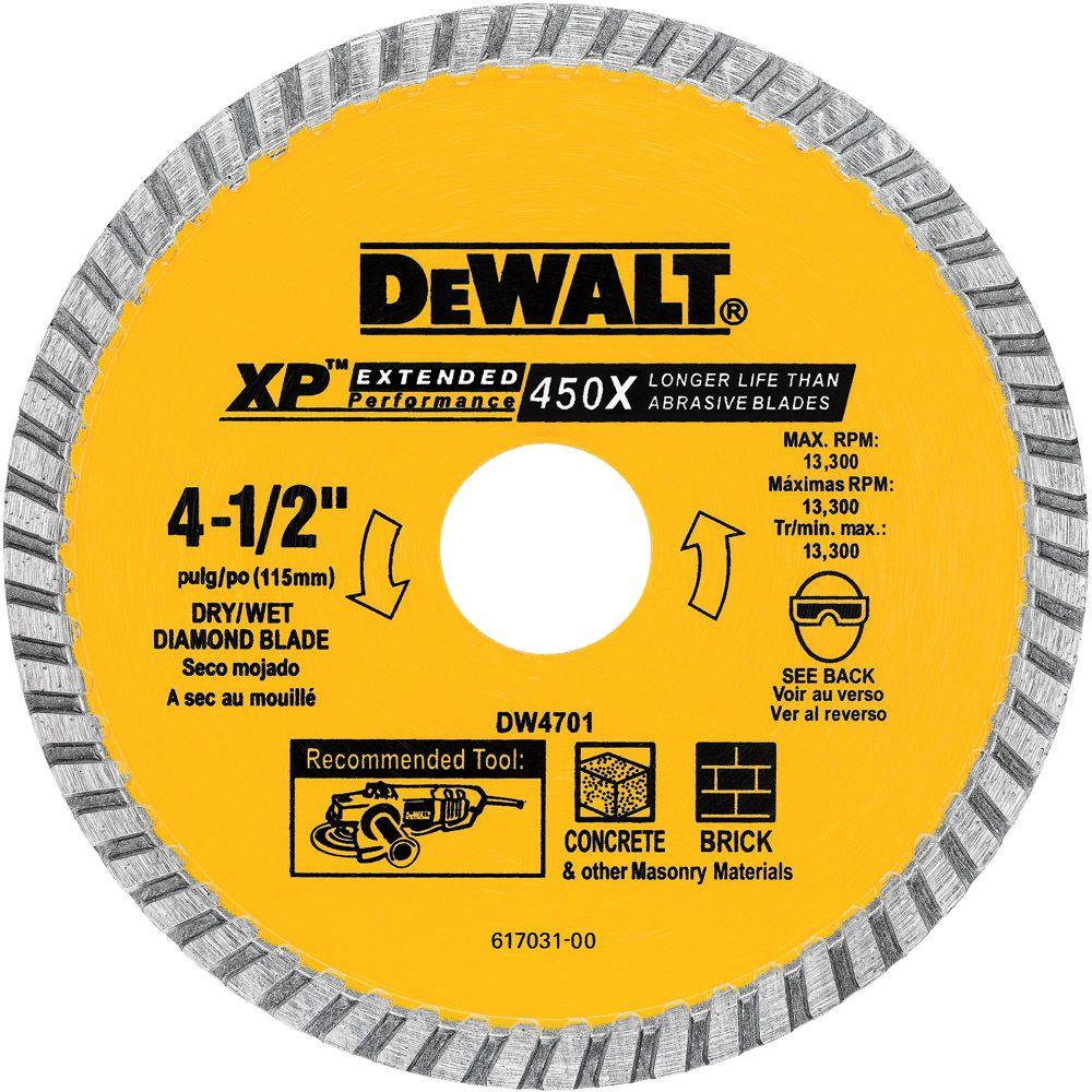 Dewalt 4 12 in concrete and brick diamond circular saw blade concrete and brick diamond circular saw blade greentooth Images