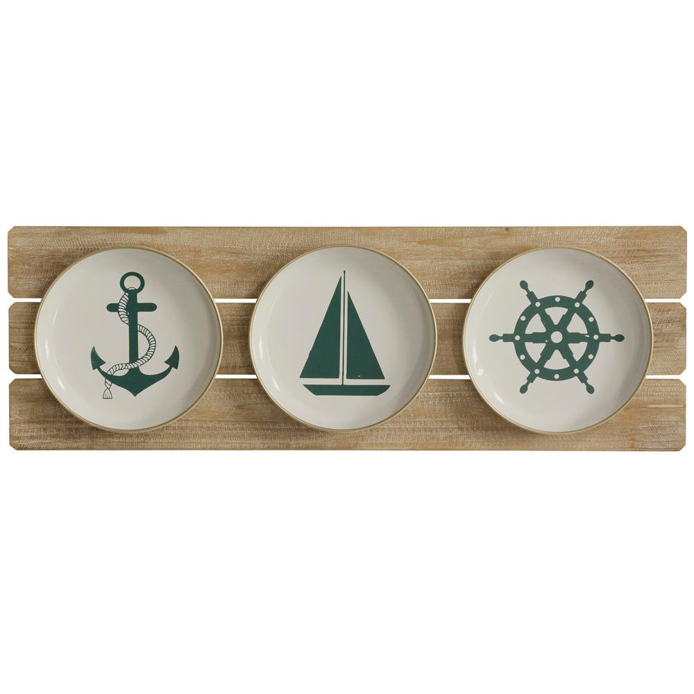 StyleCraft Sailing Plates Blue, White, Natural Wooden Wall Art, Blue/White/Natural was $76.99 now $30.32 (61.0% off)