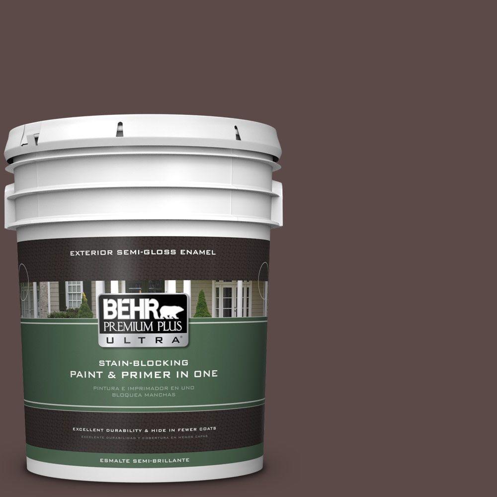 BEHR Premium Plus Ultra 5-gal. #740B-7 Smooth Coffee Semi-Gloss Enamel Exterior Paint