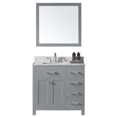 Colette 36 in. W x 22 in. D x 34.2 in. H Bath Vanity in Taupe Grey w/ Marble Vanity Top in White w/ White Basin & Mirror