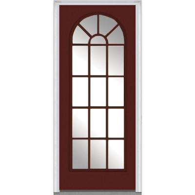 36 in. x 80 in. Left-Hand Inswing Full Lite Round Top Clear Classic Painted Fiberglass Smooth Prehung Front Door