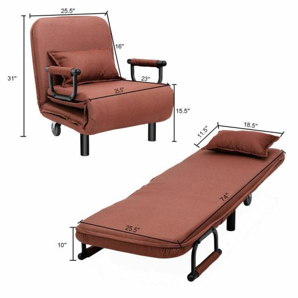 US in Stock 75In Folding Sofa Bed Arm Chair Convertible Twin Size Lazy Sofa Bed Cushion Portable Sleeper Loveseat with Detachable Armrest Chair Sleeper Leisure Recliner Lounges Couch Fold Out Bed