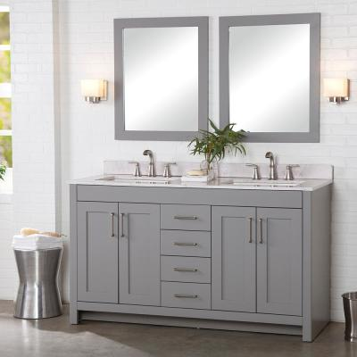 Westcourt 61 in. W x 22 in. D Bath Vanity in Sterling Gray with Stone Effect Vanity Top in Pulsar with White Sink
